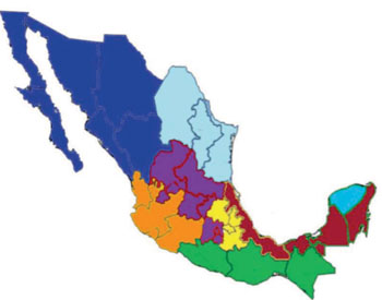 Image: Map of Mexico with Leishmania endemic regions studied shown in maroon coloring – from left to right the states: Veracruz, Tabasco, Campeche, and Quintana Roo (Photo courtesy of Prof. Monroy-Ostria A. et al., the Instituto Politecnico Nacional, and the journal Interdisciplinary Perspectives on Infectious Diseases).