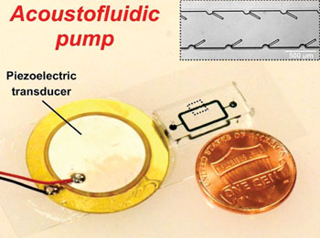 Image: An acoustically powered pumping device with 250 micron long oscillating structures driven by a piezoelectric transducer mounted on a glass slide shown next to US copper penny (Photo courtesy of Po-Hsun Huang and Tony Jun Huang).