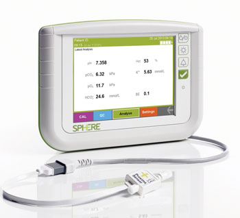 Image: The new Proxima in-line patient-dedicated arterial blood gas analyzer incorporates the Proxima Sensor (in foreground) and a dedicated bedside monitor (Photo courtesy of Sphere Medical).