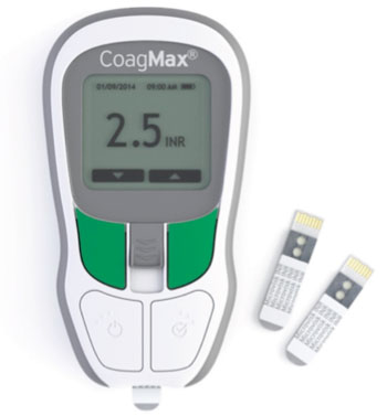 Image:  The CoagMax PT/INR system – the first to incorporate solid-state, MEMS technology into a disposable diagnostic test strip – enables rapid-test monitoring of blood clotting speed in an easy-to-use, portable format. Left: The CoagMax reader with inserted strip; Right: Two PT/INR sensor strips (Photo courtesy of Microvisk).