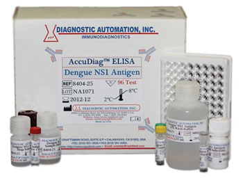 Image: An enzyme-linked immunosorbent assay (ELISA) kit for dengue virus NS1 antigen (Photo courtesy of Diagnostic Automation Inc.).