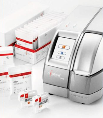Image: The Afinion AS100 Blood Analyzer and C-Reactive Protein (CRP) test kit (Photo courtesy of Axis Shield).
