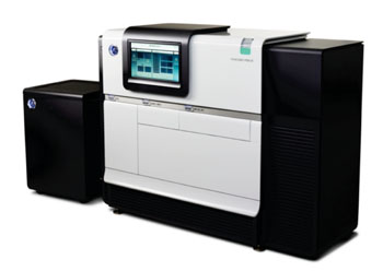 The PacBio RSII system for monitoring and analyzing single molecule, real-time (SMRT) sequencing reactions (Photo courtesy of Pacific Biosciences)