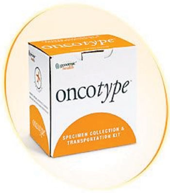 Image: The Oncotype specimen collection and transportation kit (Photo courtesy of Global Health Inc.).