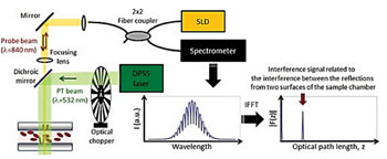 Image: Operating principle of the photothermal spectral-domain optical coherence reflectometer (PT SD-OCR) sensor for hemoglobin measurement (Photo image courtesy of Yonsei University).