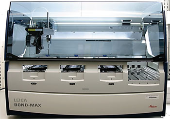 Image: The BOND-MAX fully automatic immunochemistry stainer (Photo courtesy of Leica).