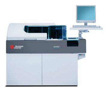 Image: The AU 480 automatic biochemical analyzer (Photo courtesy of Beckman Coulter).