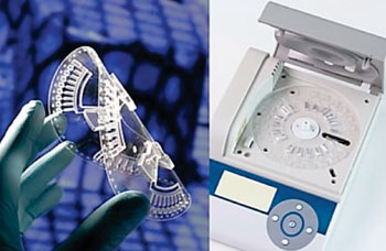 Image: The plastic disposable disc (left) is inserted into the Point-of-Care detection platform (right) for infectious disease diagnosis (Photo courtesy of DiscoGnosis).