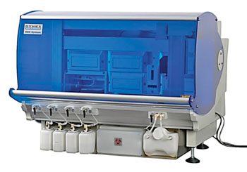 Image: The DSX Automated System for enzyme-linked immunosorbent assays (Photo courtesy of Dynex Technologies).