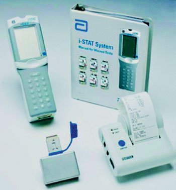 Image: The i-STAT portable handheld analyzer system (Photo courtesy of Abbott).