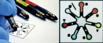 "Image: Color-in chemistry—a novel set of ""reagent pencils"" applies coloring-book approach that offers a new option for simple, customized point-of-care diagnostics and other chemical testing applications (Photo courtesy of Mitchell HT et al., 2015, and the journal Lab on a Chip/RSC)."