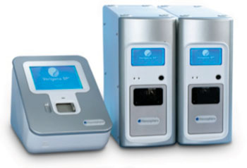 Image: Verigene System instrumentation consists of a Verigene Reader and one or multiple Verigene Processor SPs (Photo courtesy of Nanosphere).