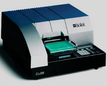 Image: The ELx800 Absorbance Microplate Reader for enzyme-linked immunosorbent assays (Photo courtesy of BioTek).