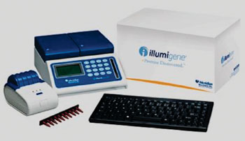 Image: The illumigene C. difficile DNA amplification assay, performed on the illumipro-10 (Photo courtesy of Meridian Biosciences).