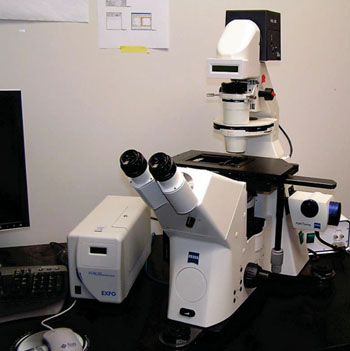 Image: The Zeiss Axiovert 200M inverted microscope (Photo courtesy of Michigan Technological University).