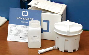 Image: The Cologuard multi-target stool DNA test kit (MT-sDNA) for colorectal cancer screening (Photo courtesy of Exact Sciences Corporation).