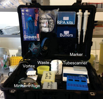 Image: The Diagnostics-in-a-Suitcase used to screen for Ebolavirus disease (Photo courtesy of Institut Pasteur, Dakar).
