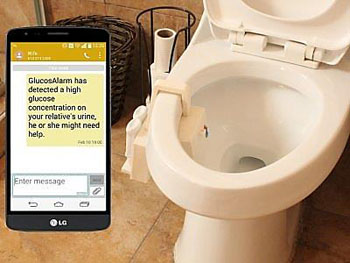 Image: The GlucosAlarm device in the toilet can measure blood glucose levels through the urine and is activated through a smart phone application (Photo courtesy of Chihuahua Institute of Technology).
