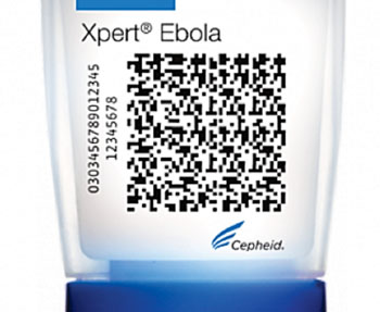 Image: The Xpert Ebola Assay cartridge (Photo courtesy of Cepheid Inc.).