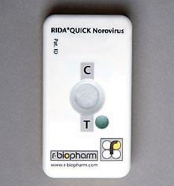 Image: The RidaQuick Rapid Immunochromatographic Test for Norovirus (Photo courtesy of R-Biopharm AG).