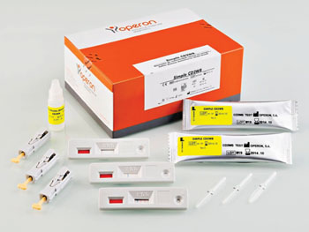 Image: Simple CD2WB immunochromatographic test designed to detect, in human blood, IgA-type antibodies against human tissue transglutaminase, the main autoantigen recognized by the anti-endomysial antibodies, and antibodies against gliadins. Its use is particularly indicated in the case of celiac disease in pediatric patients (Photo courtesy of Operon).