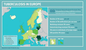 Image: A map showing tuberculosis cases in Europe from 2014 (Photo courtesy of European Centre for Disease Prevention & Control).