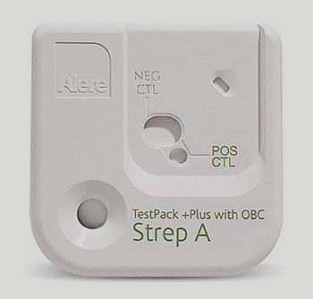 Image: The TestPack Strep A test is a simple rapid immunochromatographic assay for the qualitative detection of Group A Strep antigen from throat swabs (Photo courtesy of Alere).